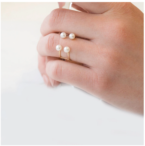 POPPY FINCH - Double Baby Pearl Open Ring