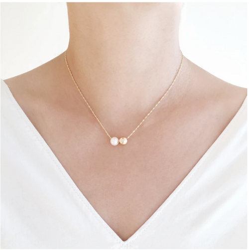 POPPY FINCH - Gold Pearl Duo Pendant Necklace