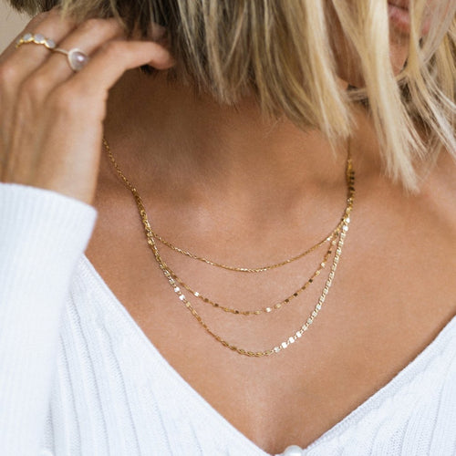 LEAH ALEXANDRA SHIMMER 3-LAYER NECKLACE | 10K GOLD