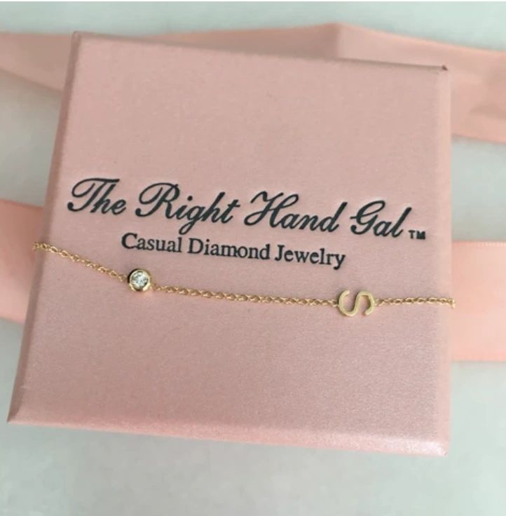 "The Right Hand Gal-Mini Initial Necklace 16"" chain with Diamond Bezel"