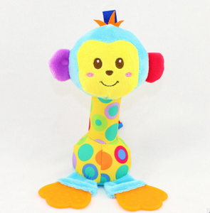 New Baby infant toy Cartoon Animal Sound Toys BIBI stick Rattle Hand Enlightenment Plush Doll
