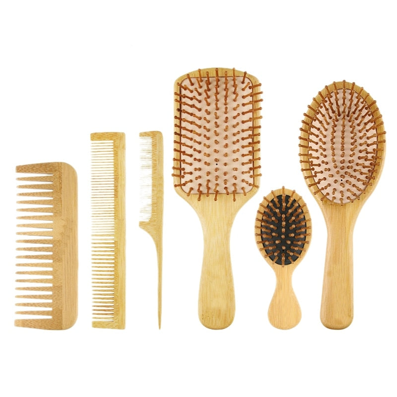 6 pieces.Hair brushes and combs. Set Bamboo Airbag Scalp Massage Brush. Home Hairdressing Salon Tool Kit