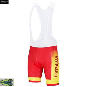 2019 Spain National Team Cycling Jersey 20D Gel PAD Bike Shorts Set Men Ropa Ciclismo Maillot Culotte Bicycling Top Bottoms