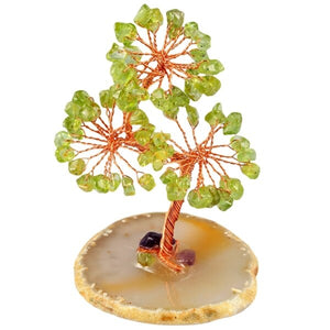 Healing Crystal Money Tree with Agate Slices Base Bonsai Home Office Decoration for Wealth and Luck