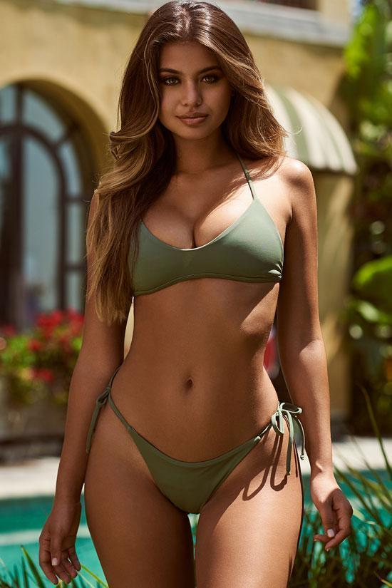 Olive Strappy Triangle Brazilian Bikini Swimsuit - Two Piece Set.bi