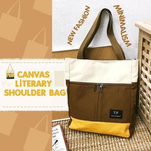 Canvas Literary Shoulder Bag, Portable Handbag