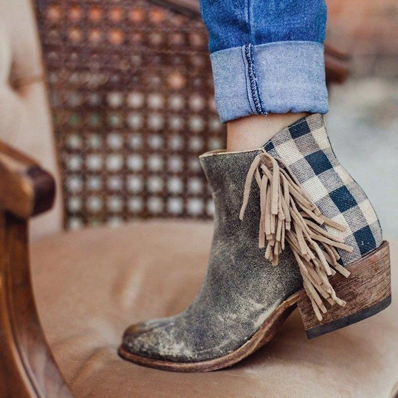 Retro Tassel Side Checked Back Zipper Boot