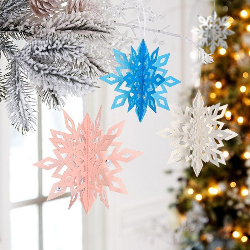 3D Snowflake Decorations (6/12 PCs)
