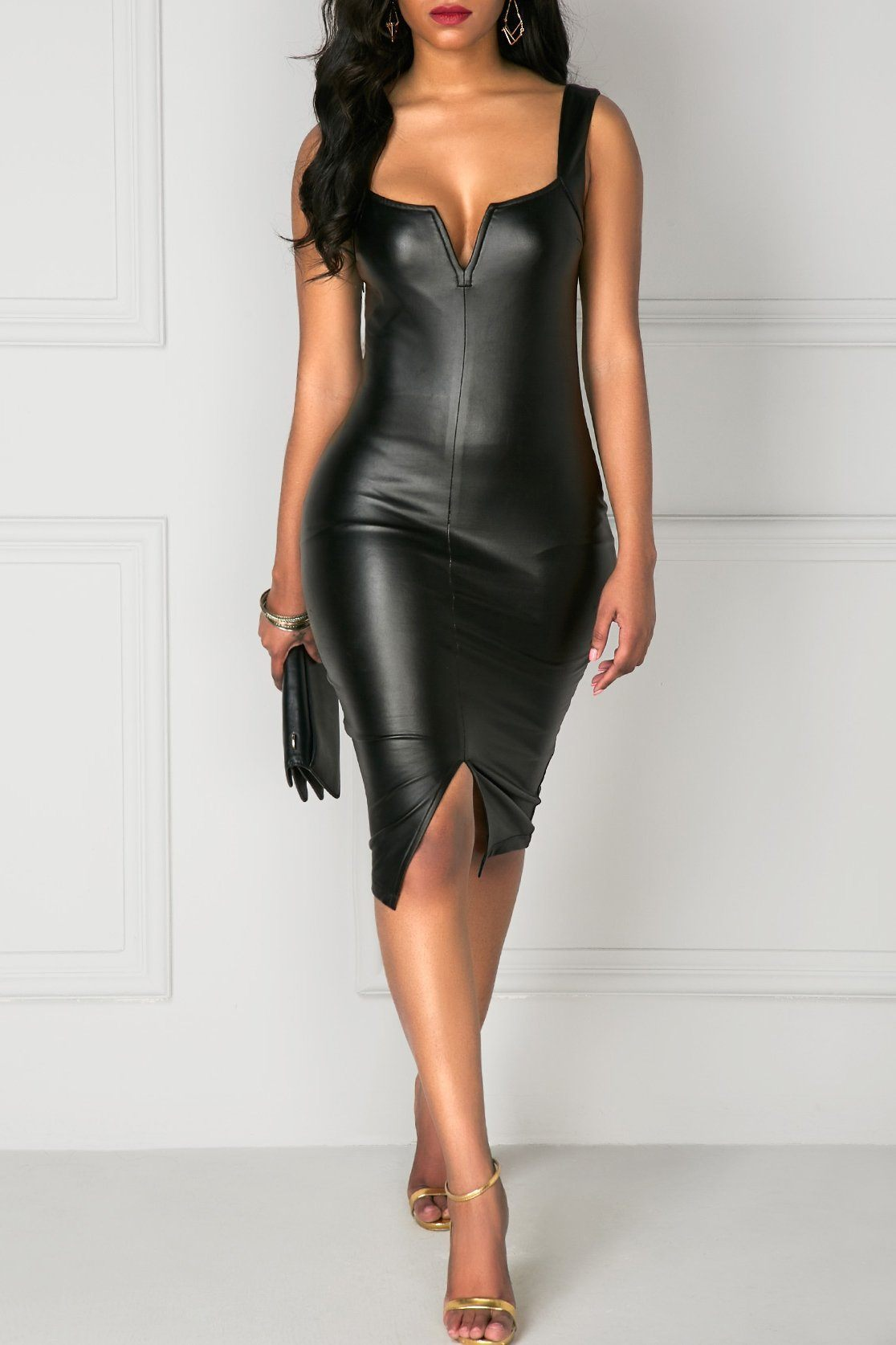 Best Front Slit Wide Strap Black PU Skinny Sheath Dress