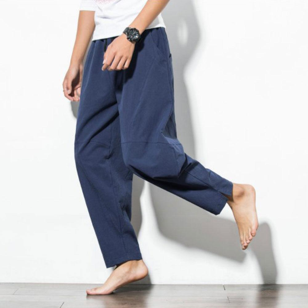 Men's Summer Casual Cotton Baggy Harem Pants