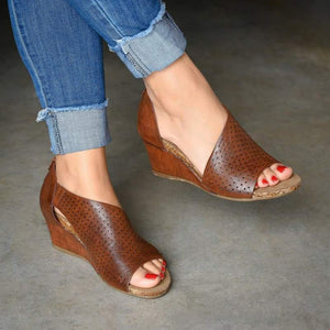 Back Heel Zip Wedge Sandals