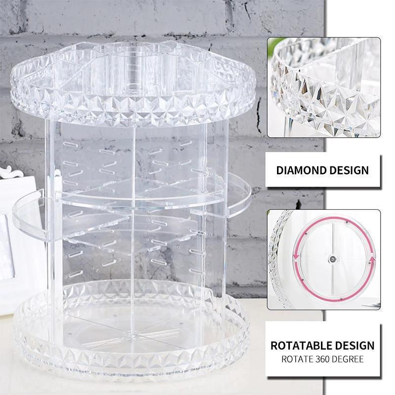 360° Rotating Crystal Cosmetic Storage Box