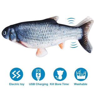 Plush Simulation USB Charging Cat Fish Toy