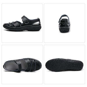 Leather Hollow Out Hook Loop Casual Flat Sandals For Women