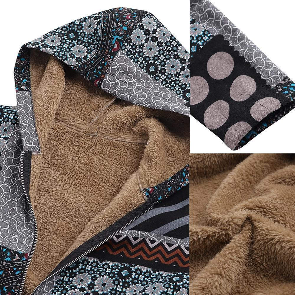 Dotted coat with hood and patchwork pattern