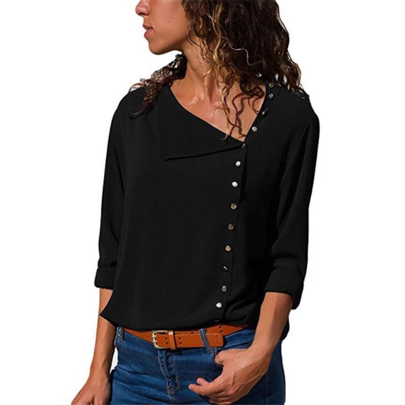 Women Skew Collar Solid Office Casual Blouse