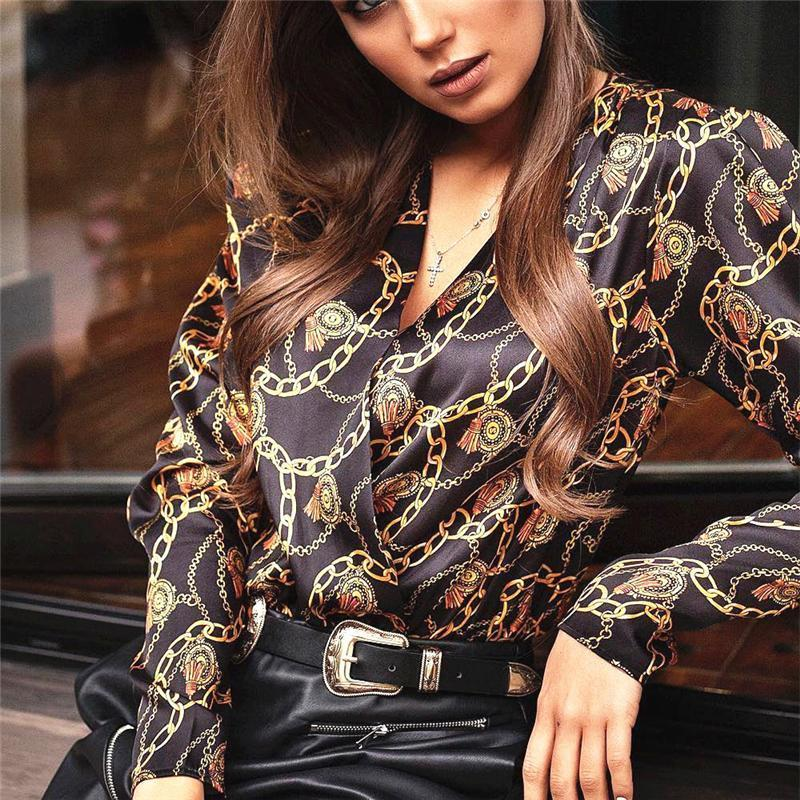 Women Fashion Password Chain Printed Vintage Blouse