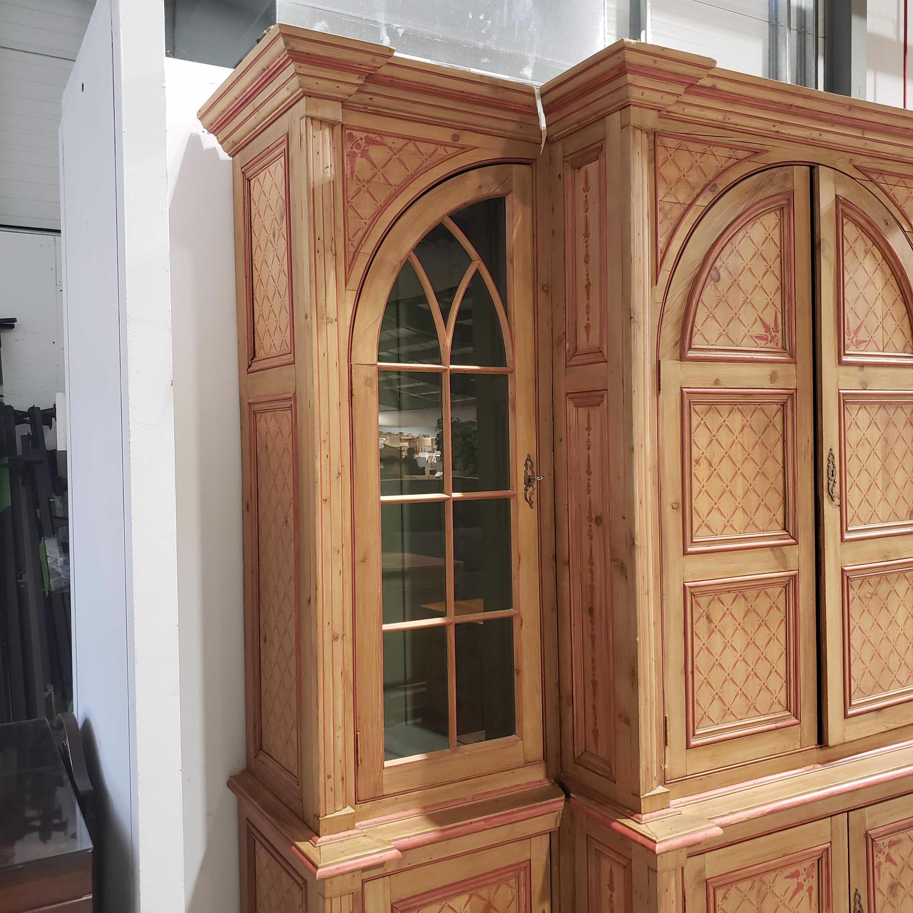 "96""x 32""x 91"" 6 Piece Natural Pine with Red Painted Detail Crown and Edge Some Chips Arched Doors Entertainment Hutch"