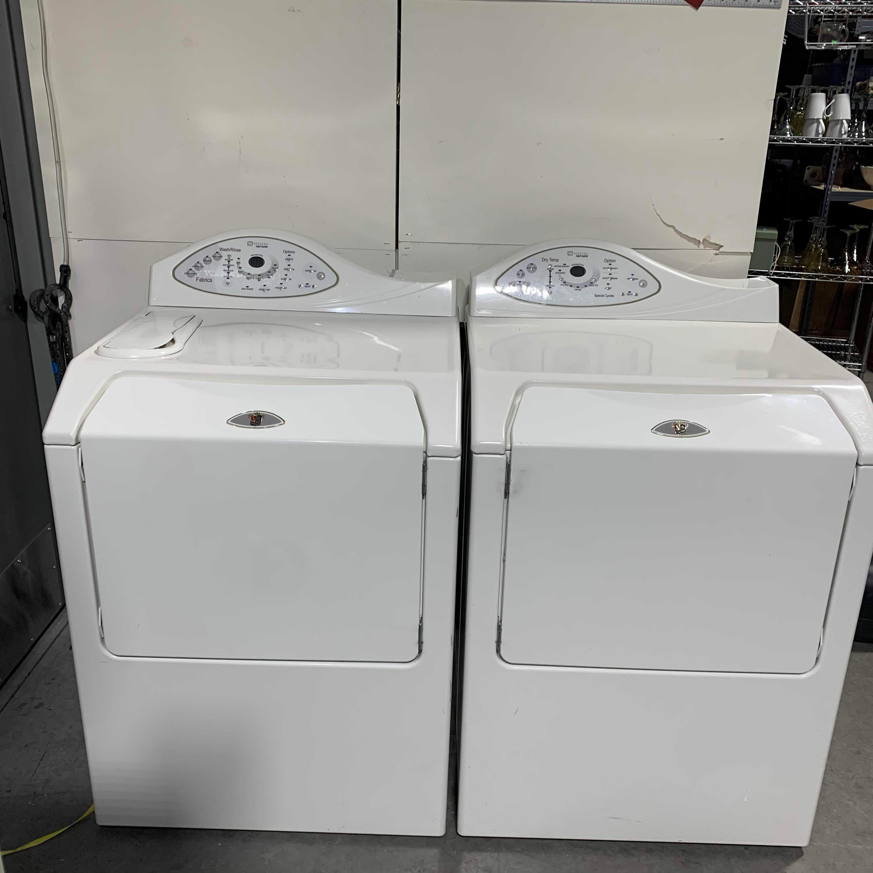 "54 1/2"" x 27 1/2"" x 43"" Maytag Neptune Front Loading Washer & Gas Dryer SET"