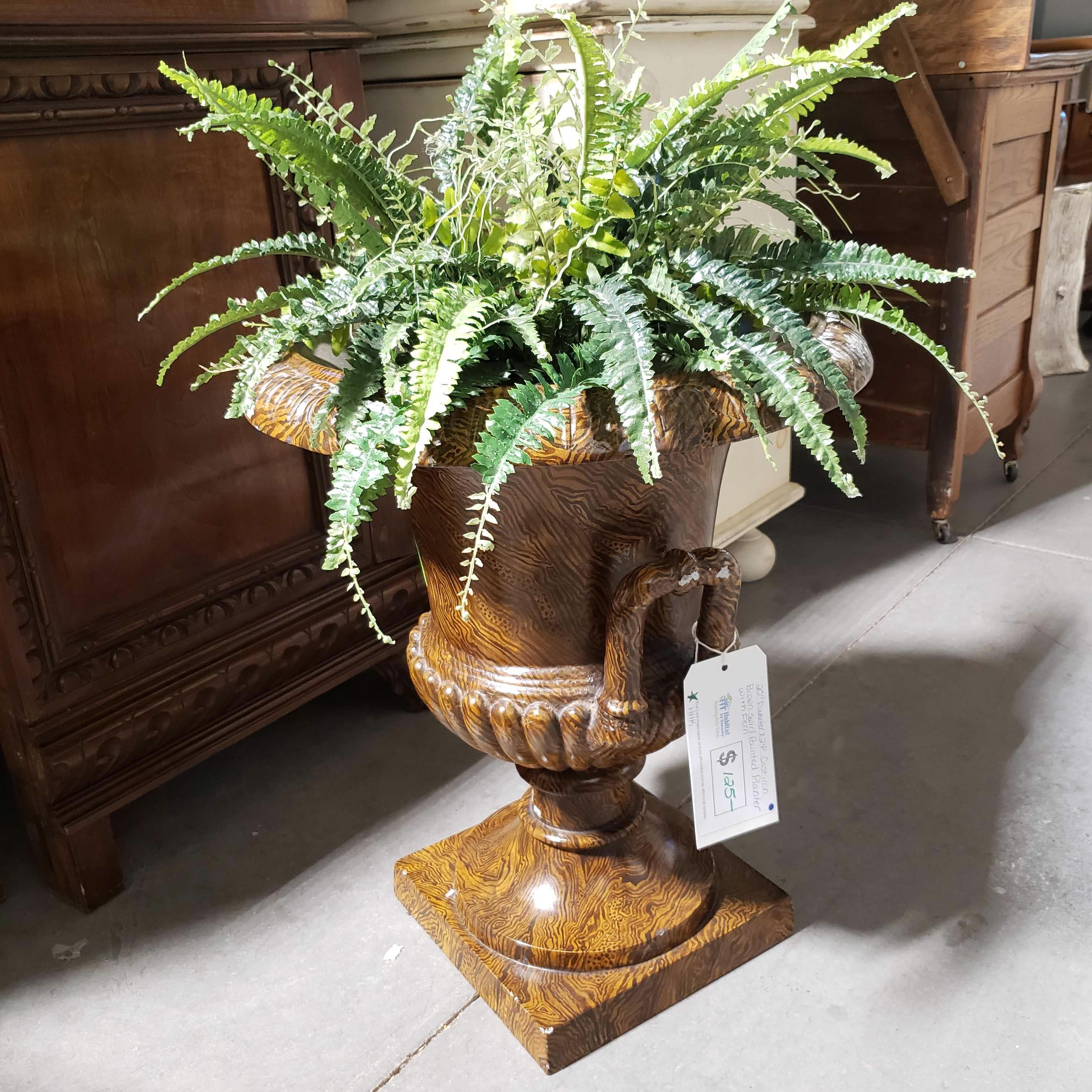 "20""x 24"" Diameter Cast Iron Brown Swirl Painted Planter with Fern"
