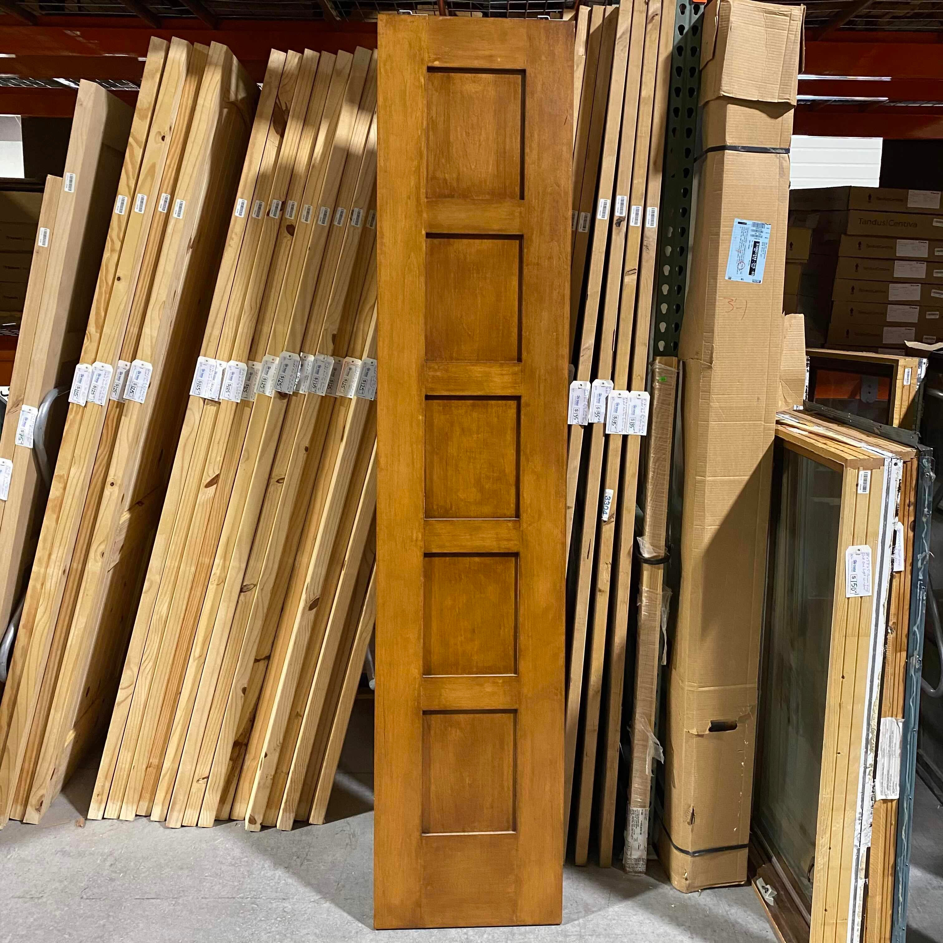"20"" x 94.25"" x 1.75"" 5 Panel Tawny Brown Solid Wood Pocket Door"