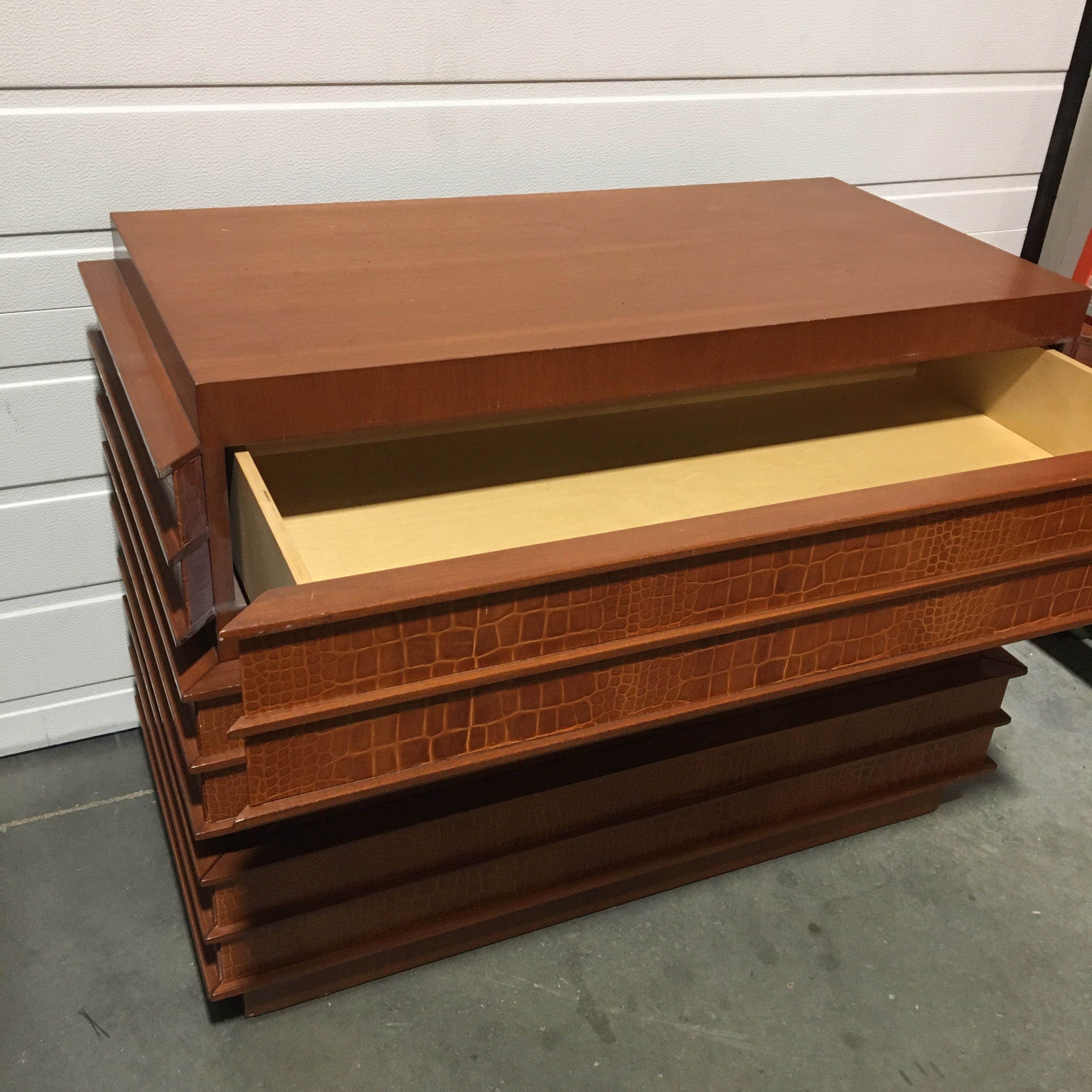 Custom Modern Leather Wrapped 3 Drawer Dresser