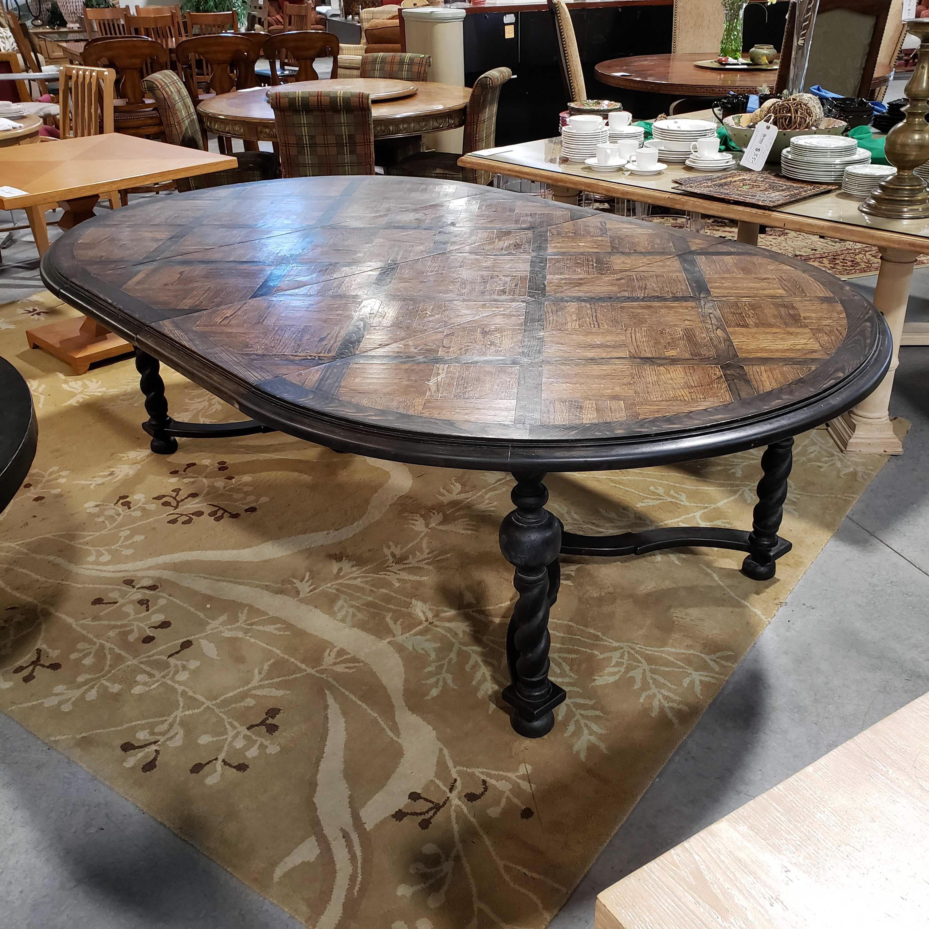 "96""x 60""x 29.5"" 2 Tone Parquet Design with 2 Leaves Oval to Round Scratch and Wear Dining Table"