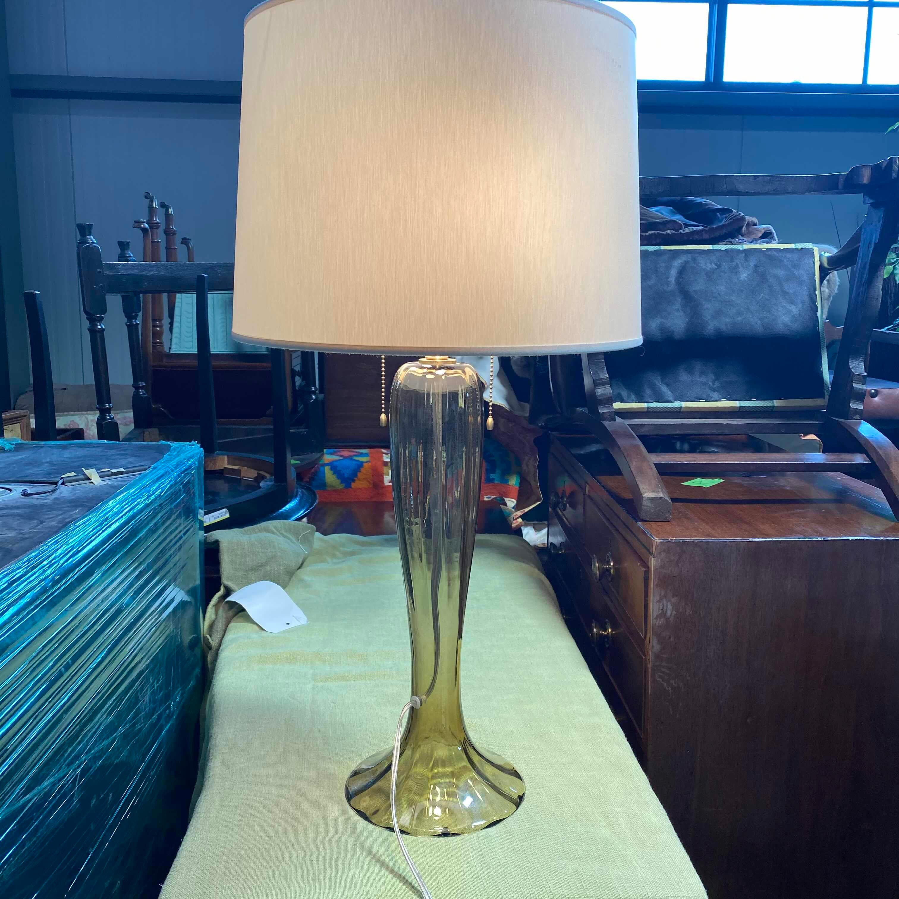 "15"" x15 x 31"" Italian Made Hand Glass Blown Base with Brass Top Table Lamp"
