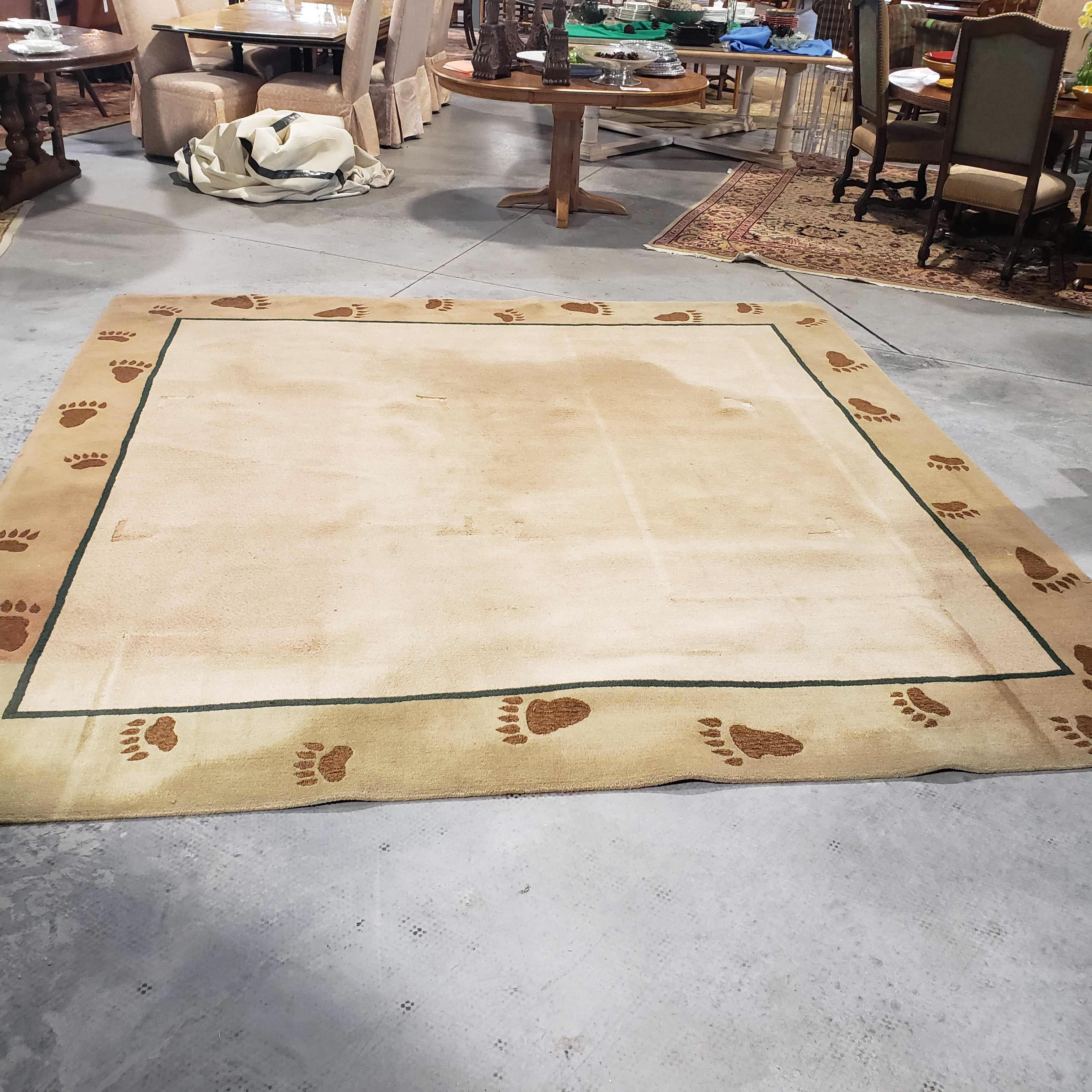 10.5'x 10.5' Allure Rug Studio Hand Made in Denver Bear Paw Wool Some Discoloration Rug