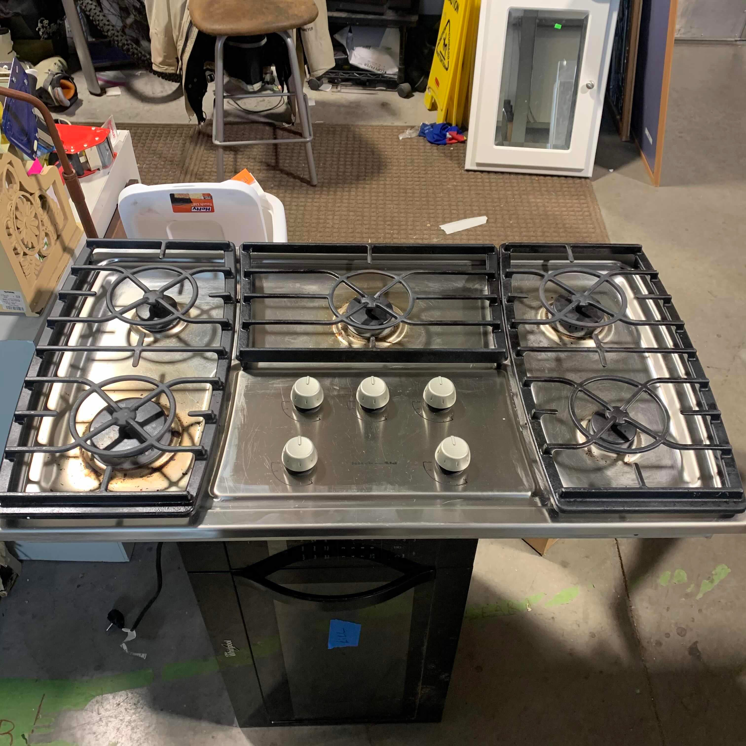 "36"" x 21"" x 5"" Kitchenaid Stainless 5-Burner Gas Cooktop"
