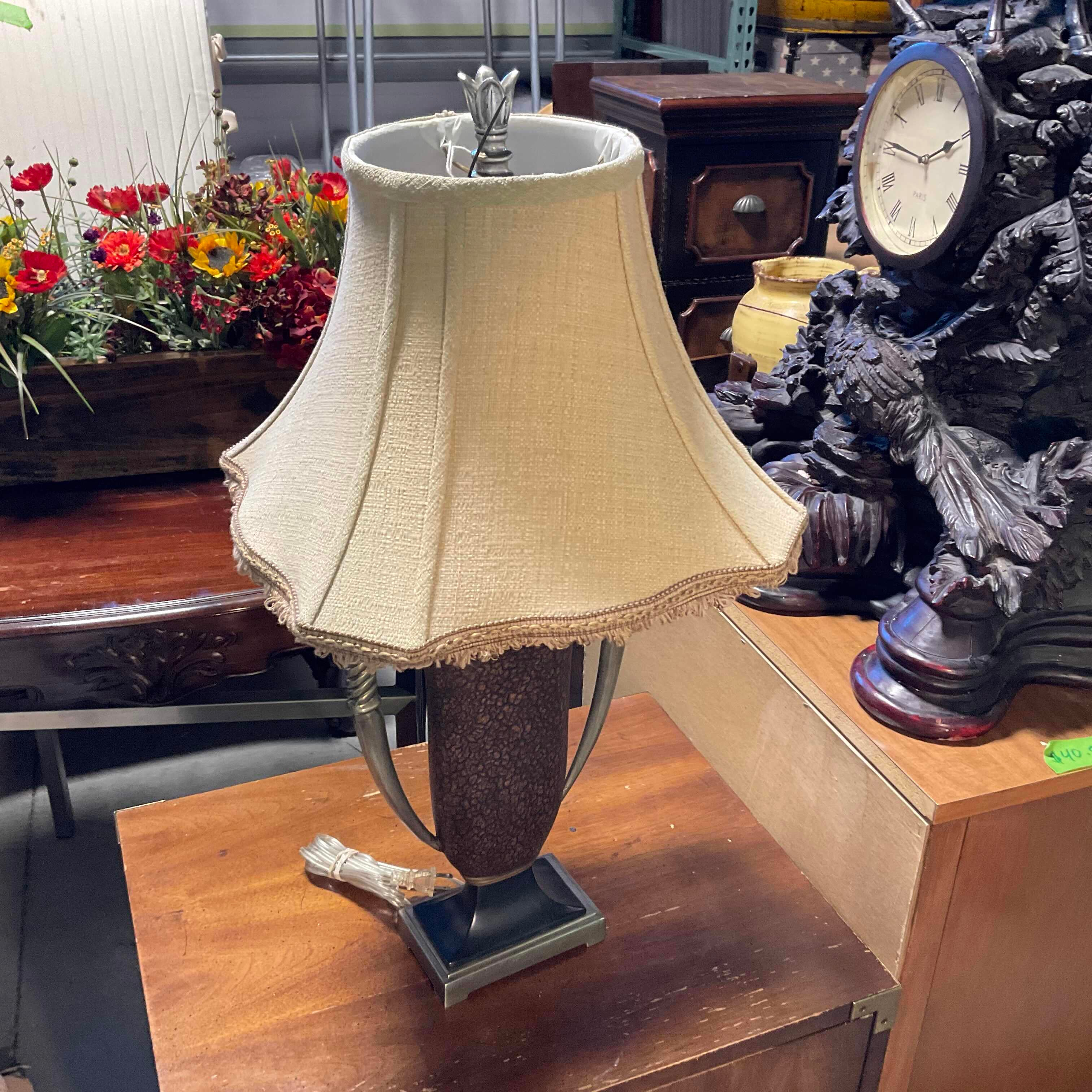 "11""x4""x27"" Brass with Faux Leather Trophy Style Table Lamp"
