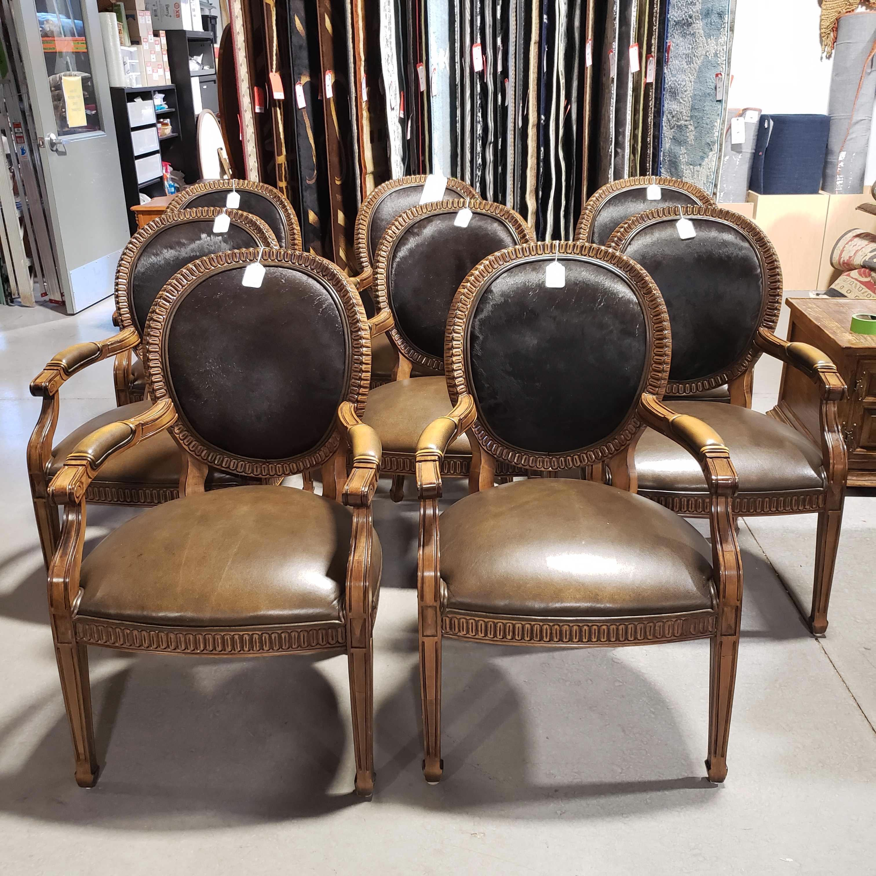 SET of 8 Kreiss Collection Oval Back Cowhide Leather & Carved Wood Dining Arm Chairs