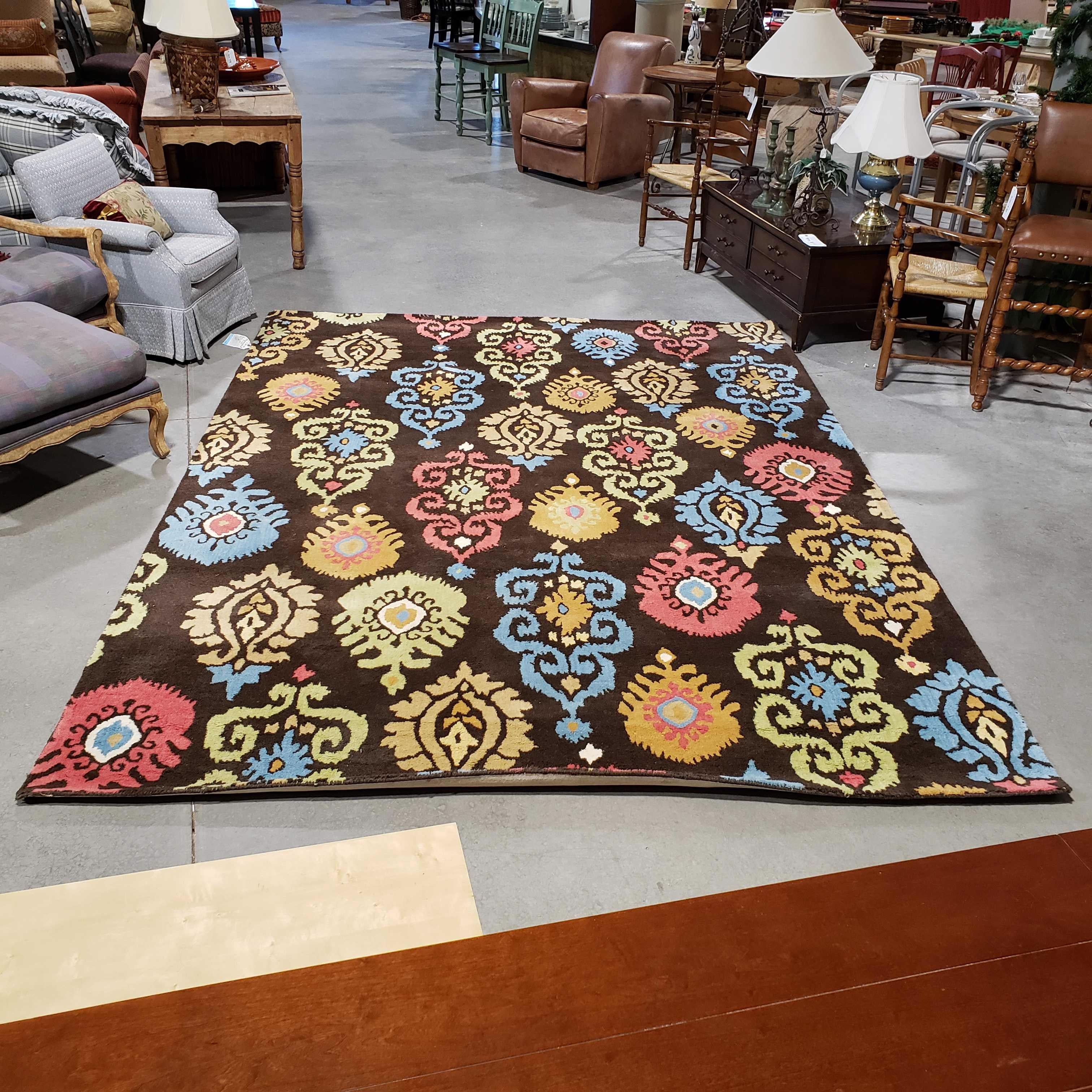 8'x 11' Company C Good Weave Wool Brown Coral Blue Gold Area Rug