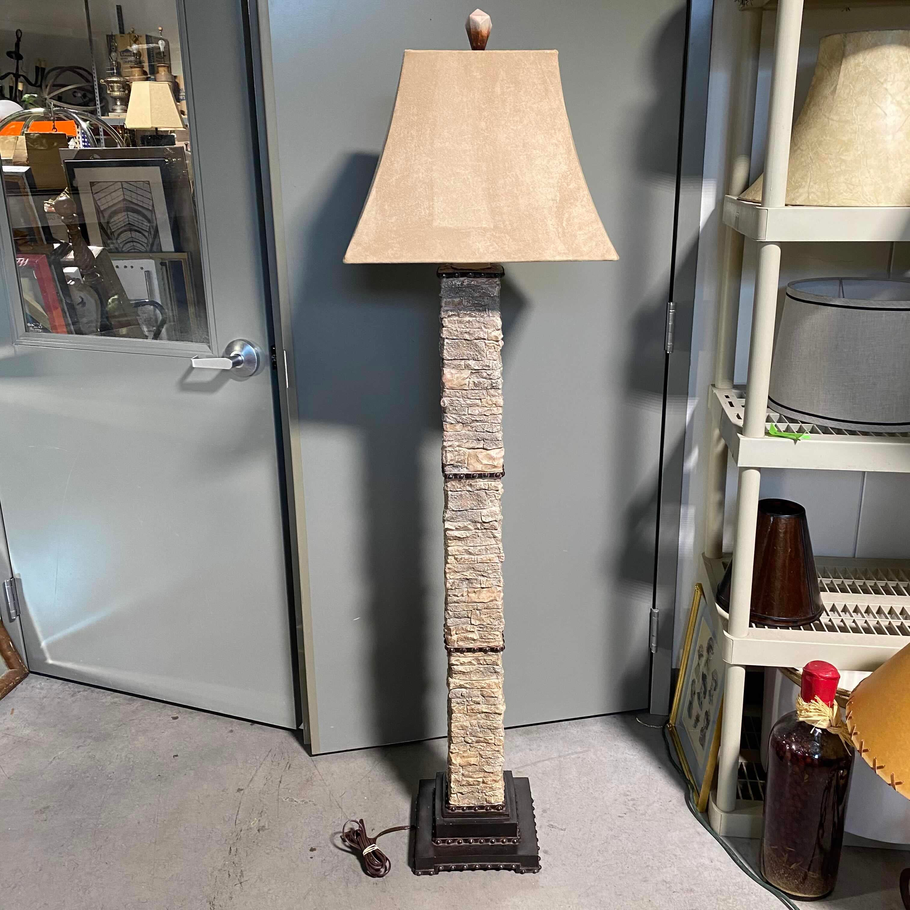 Faux Stone and Steel with Suee Shade Floor Lamp