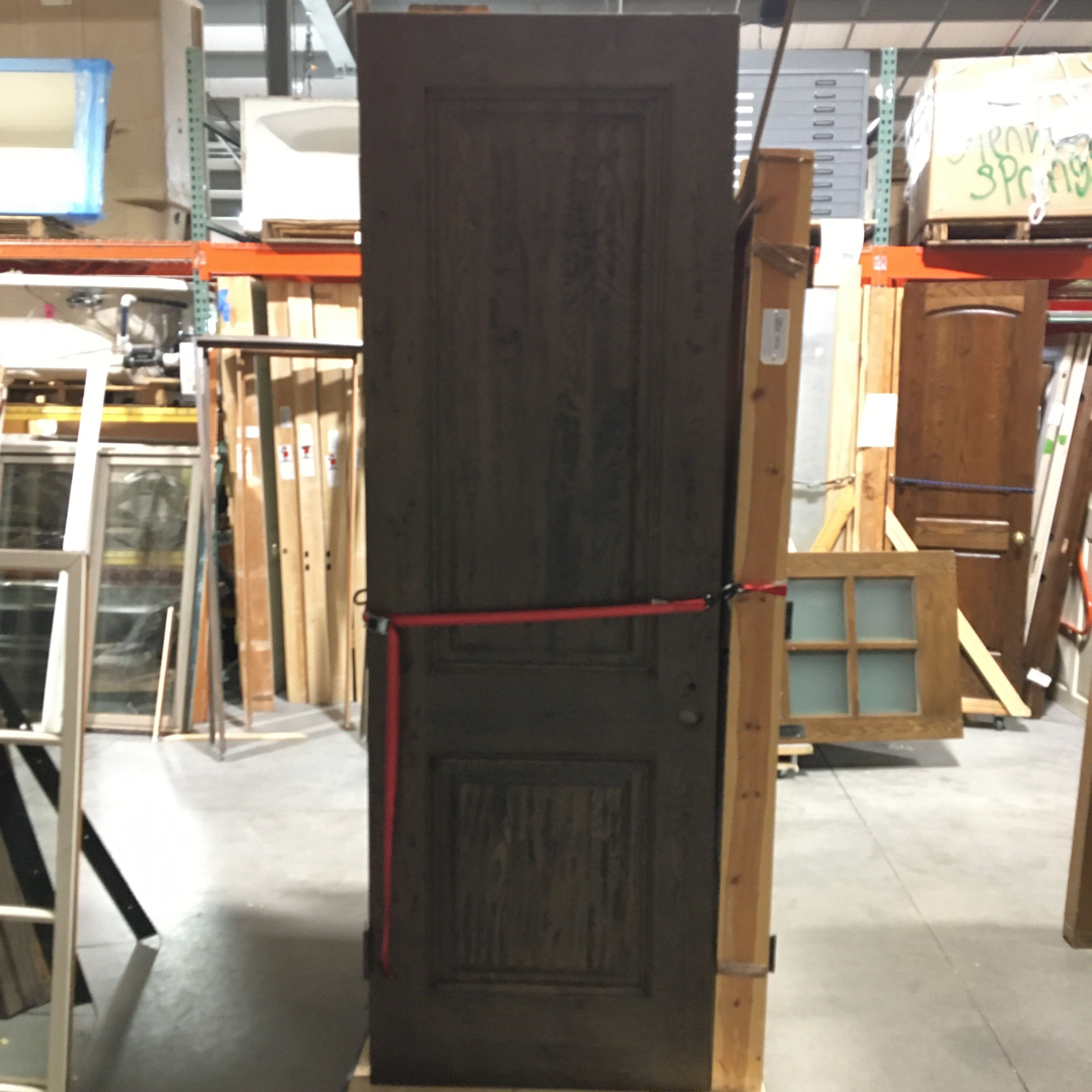 "32"" x 96"" 2 Panel Distressed Solid Oak Door"
