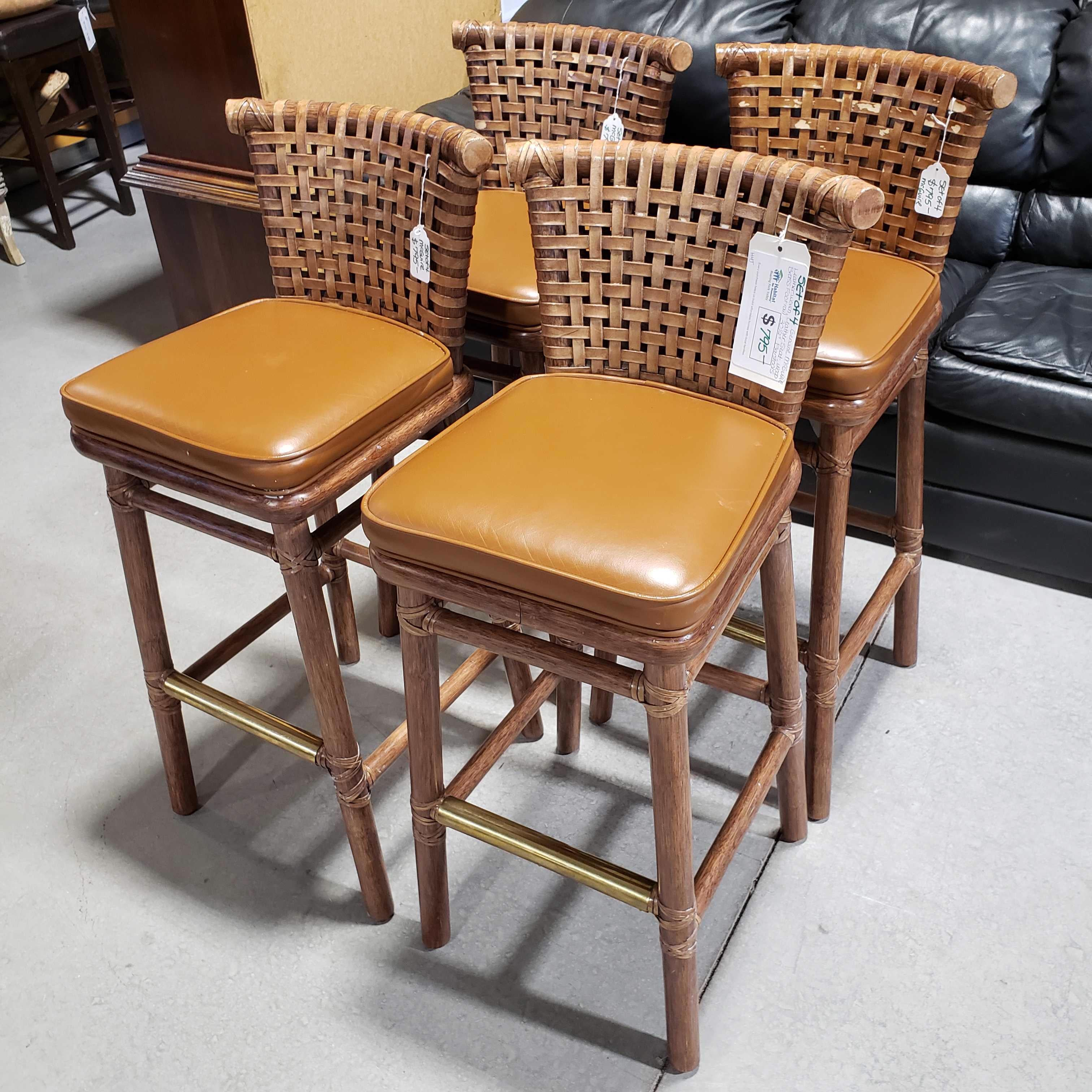 "Set of 4 30.5"" Genuine McGuire Leather Woven Leather Seat Wood Brass Foot Rail Barstools"