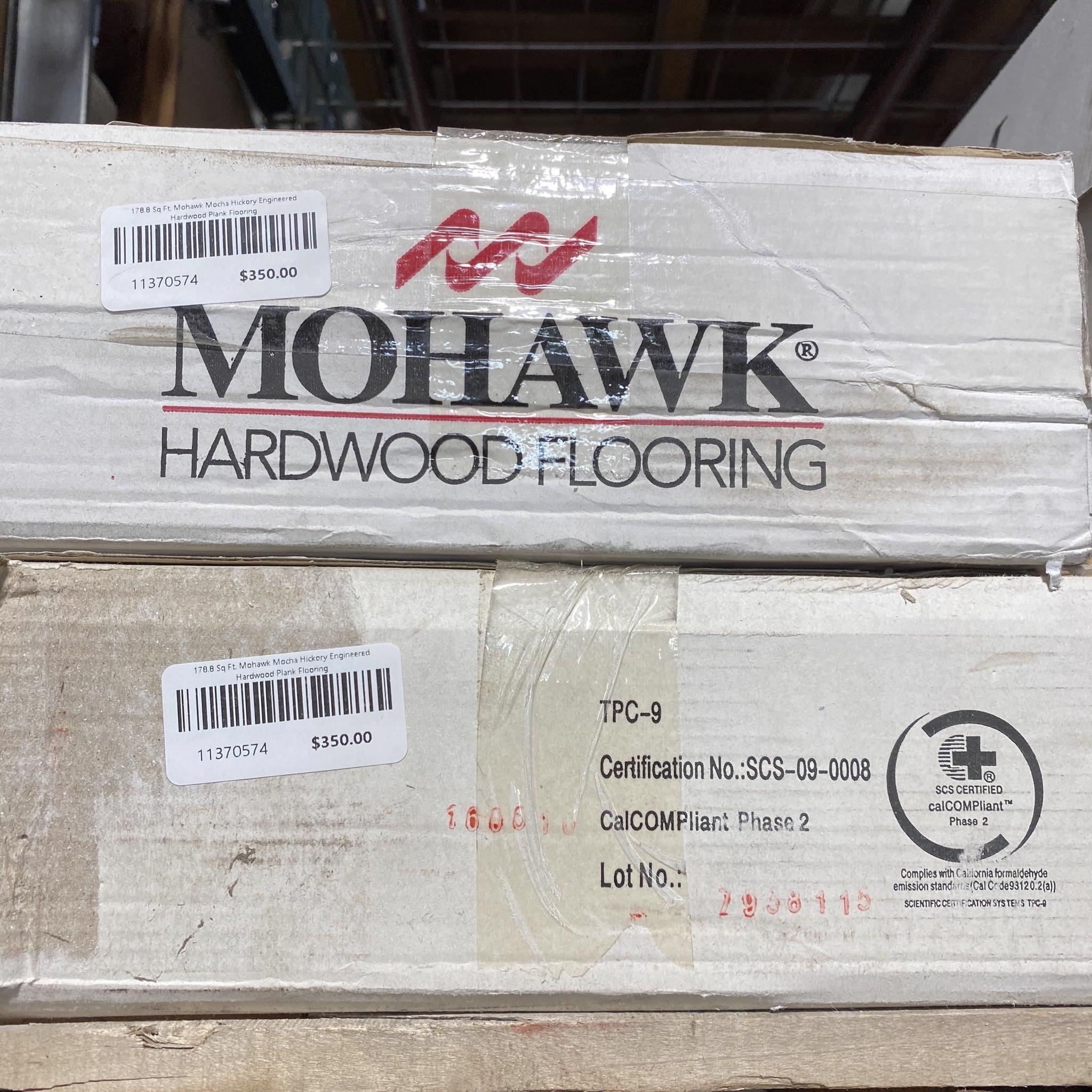 178.8 Sq Ft. Various Width Pattern Mohawk Mocha Hickory Engineered Hardwood Plank Flooring