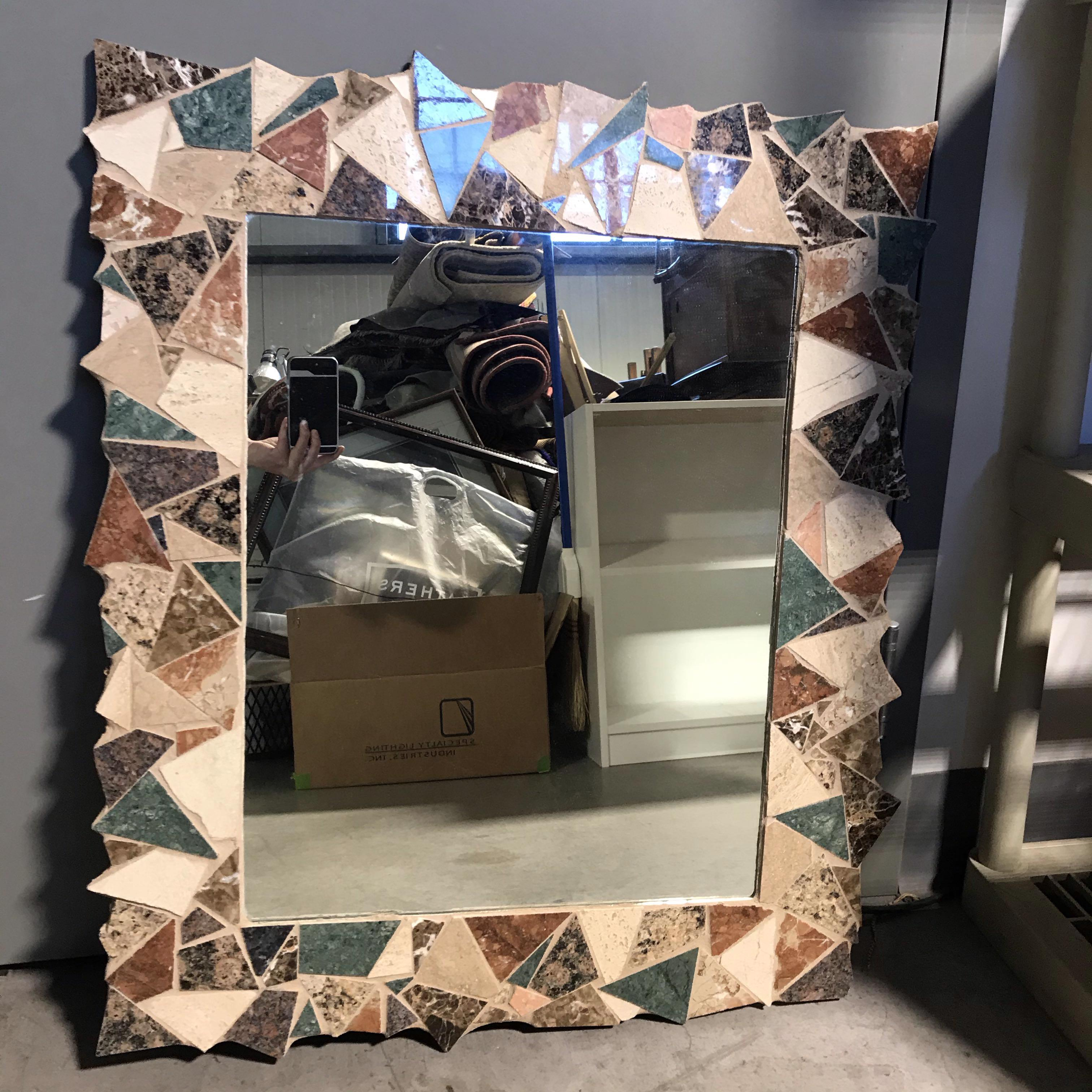 "26"" x 32"" Paved Marble Framed Mirror"