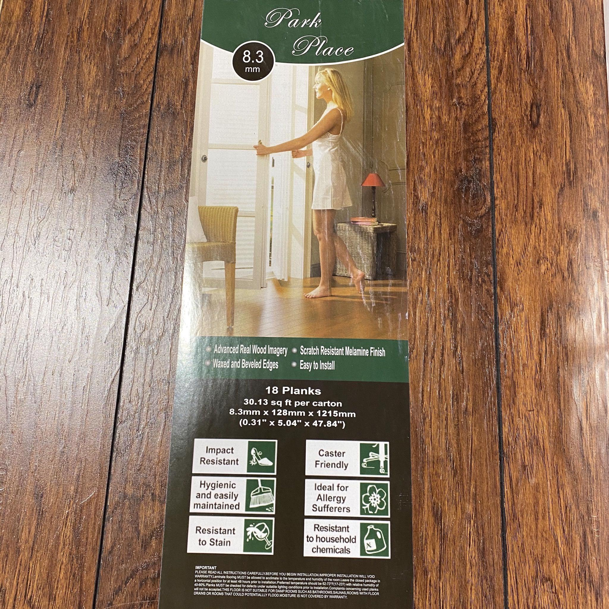 420 Sq Ft. Park Place Hickory Melamine Laminate Plank Flooring