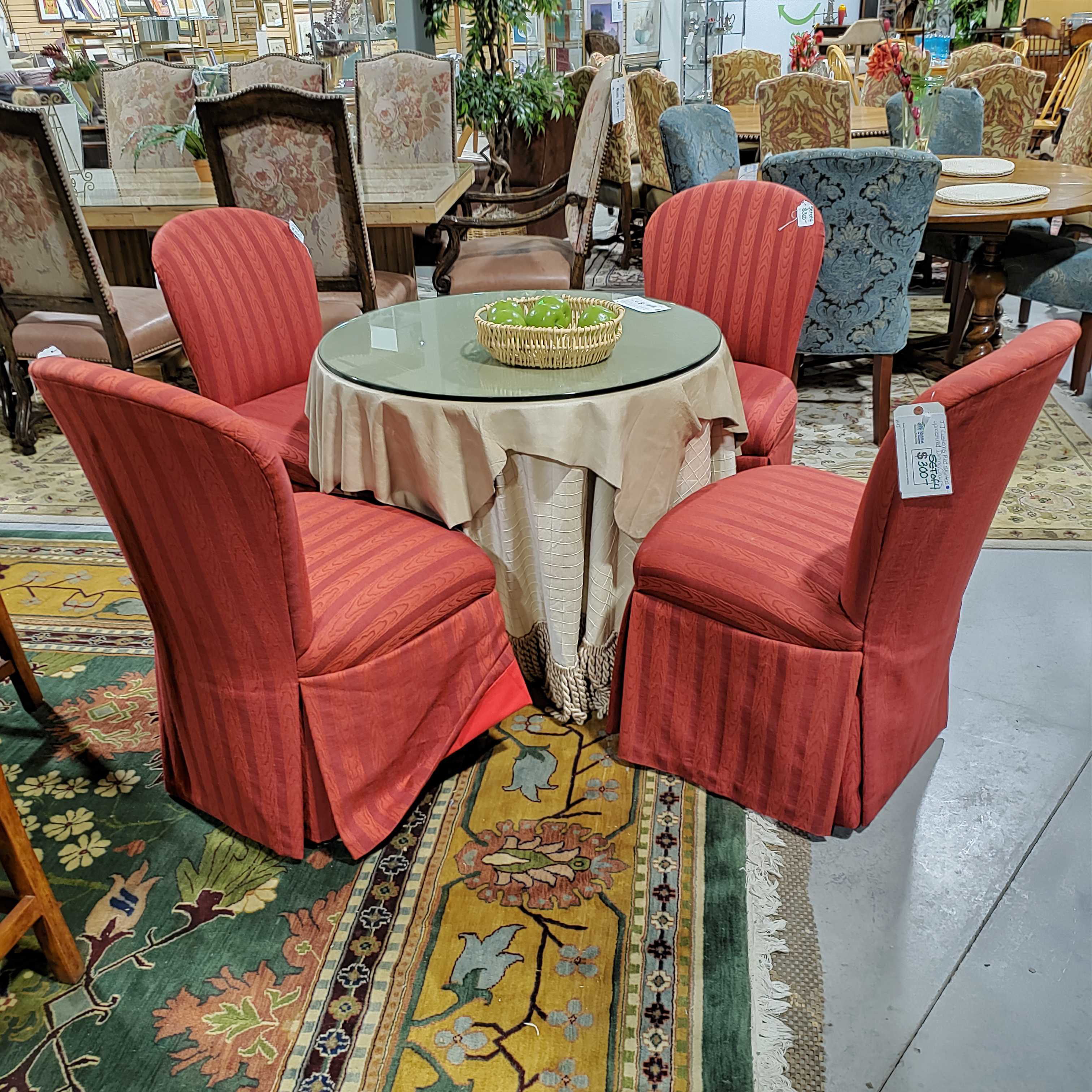 Set of 4 JJ Customs Red Skirted Upholstered Dining Chairs