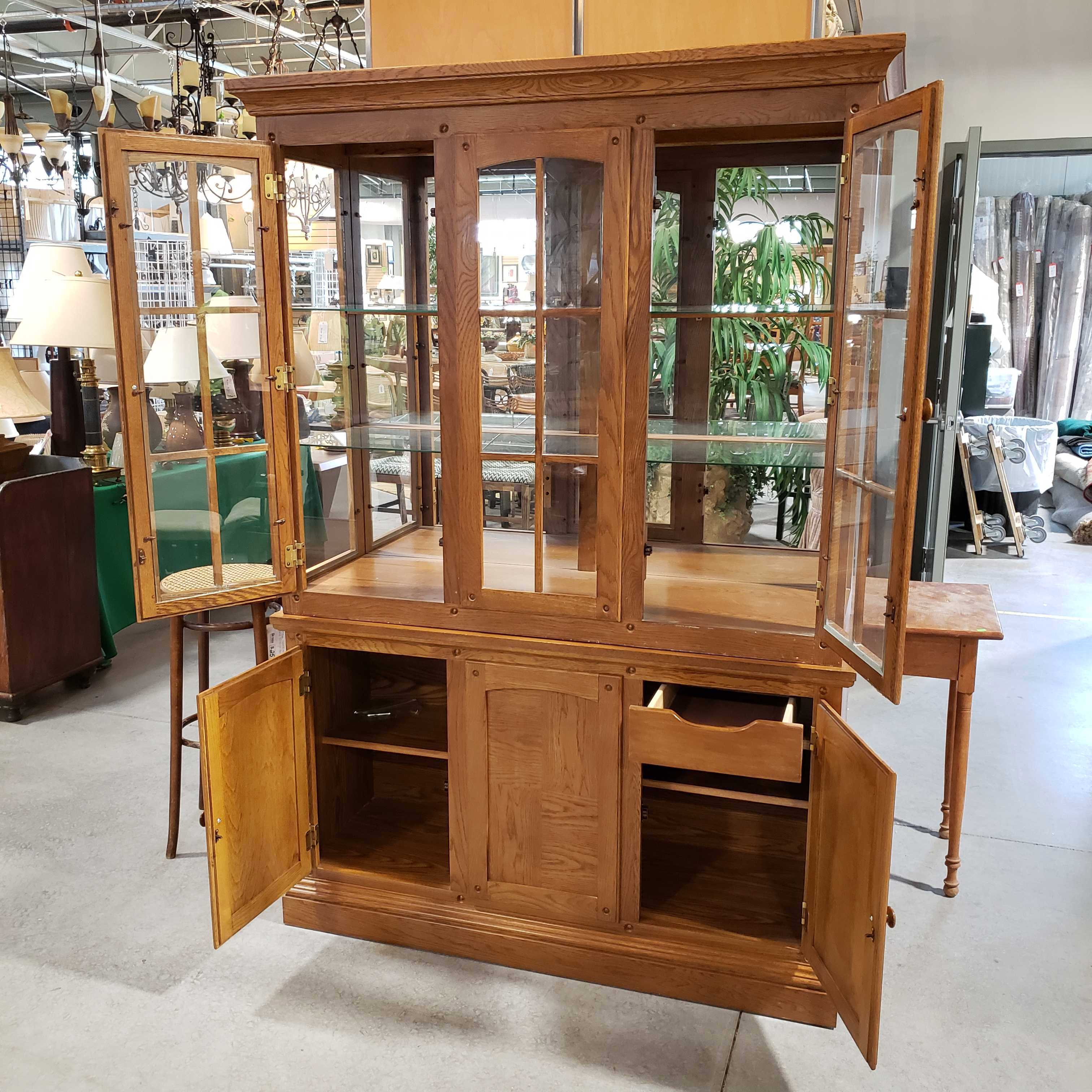 "53""x 17.5""x 77"" Mission Oak Style 2 Piece 4 Door with Glass Shelves China Hutch"