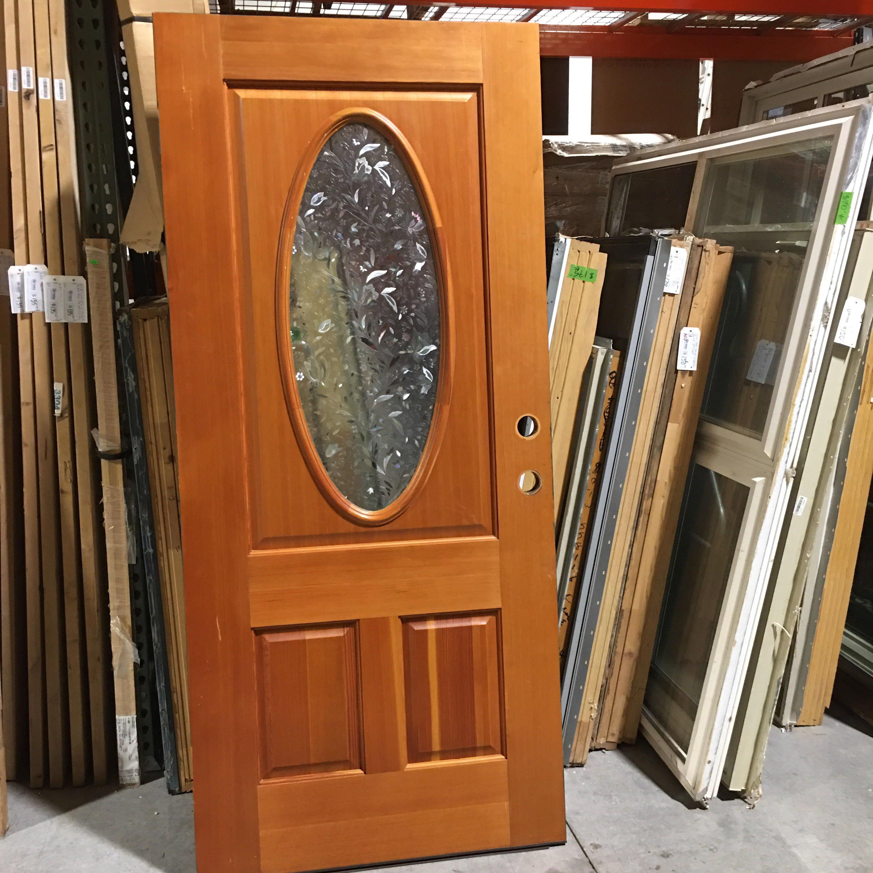 "35.75"" x 80"" x 1.75"" Multi Color with Oval Etched Glass Exterior Door"