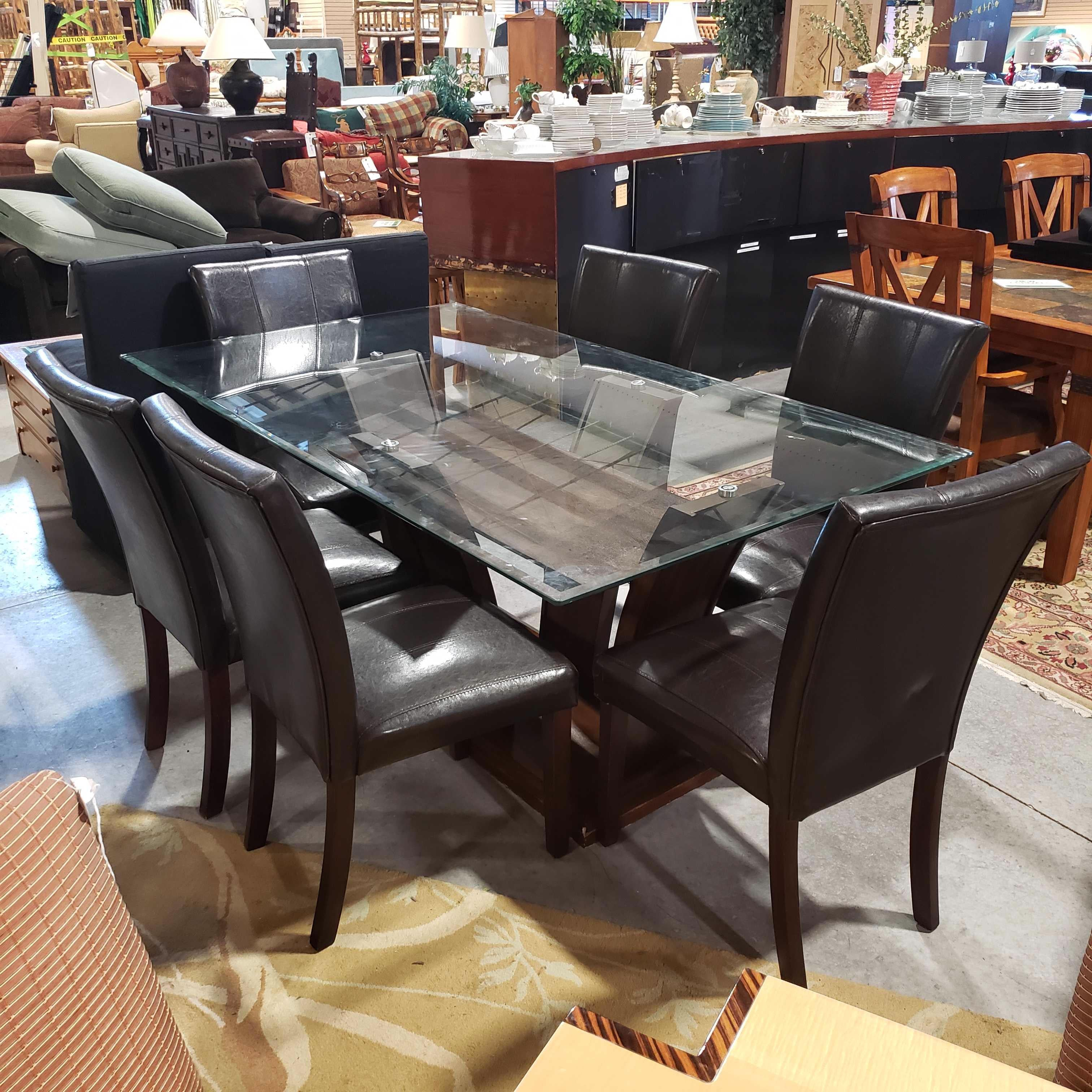 "72""x 42""x 31"" Wood Modern with Glass Top Dining Table and 6 Brown Pleather Chairs"