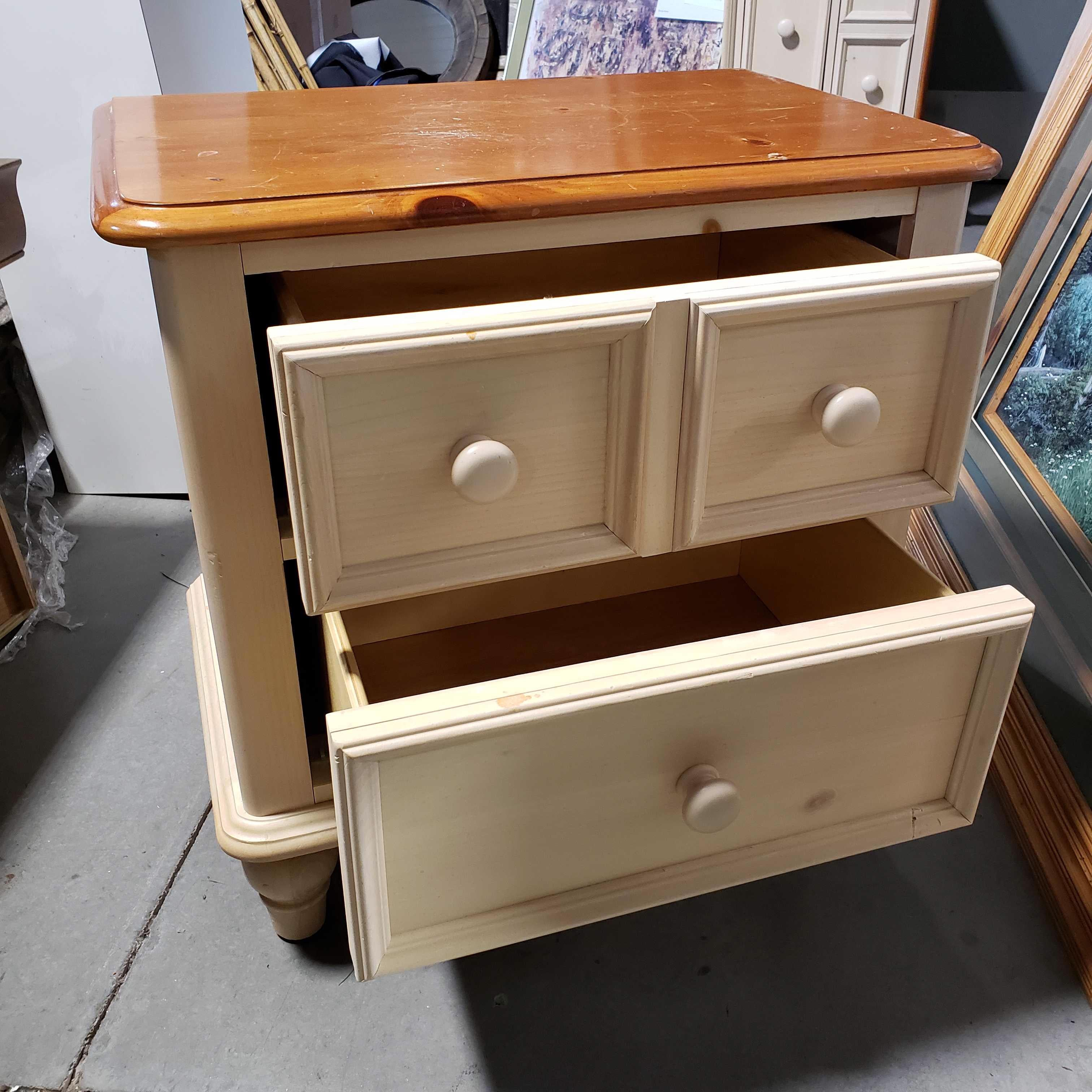 "26""x 17""x 26"" Broyhill Natural and Finish Top 2 Drawer Night Stand"