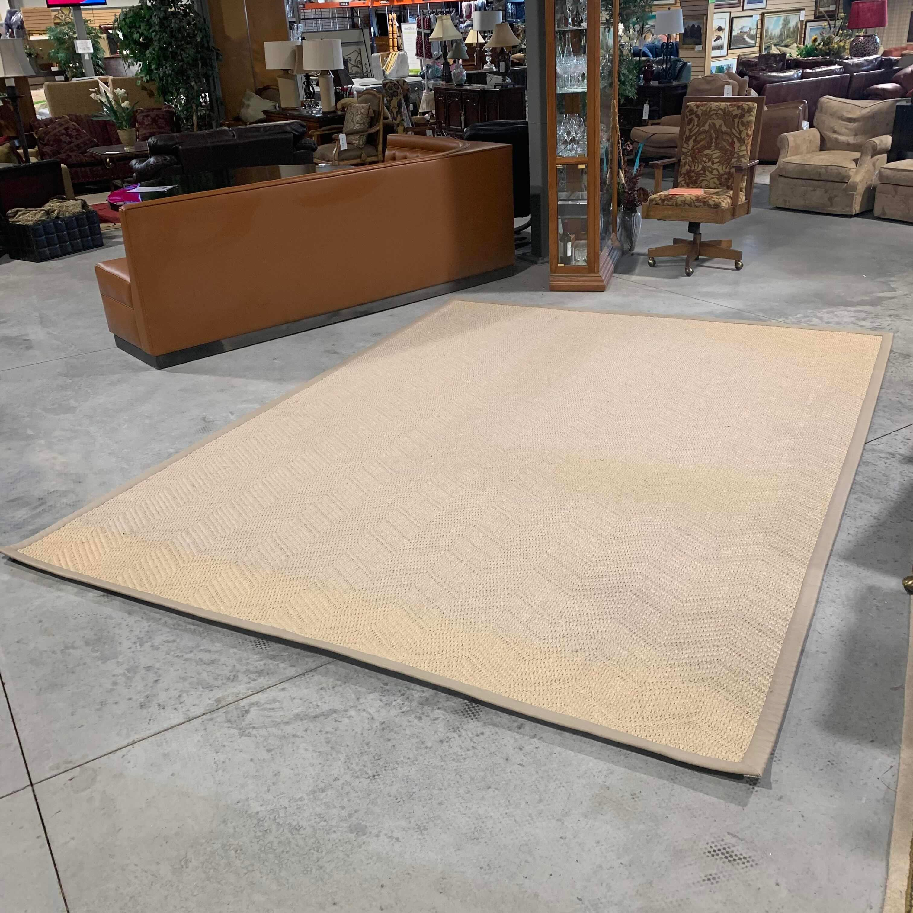 9'x 12' Chevron Pattern Sisal with Rubber Backing Pleather Edge and Carpet Pad Some Yellowing Rug