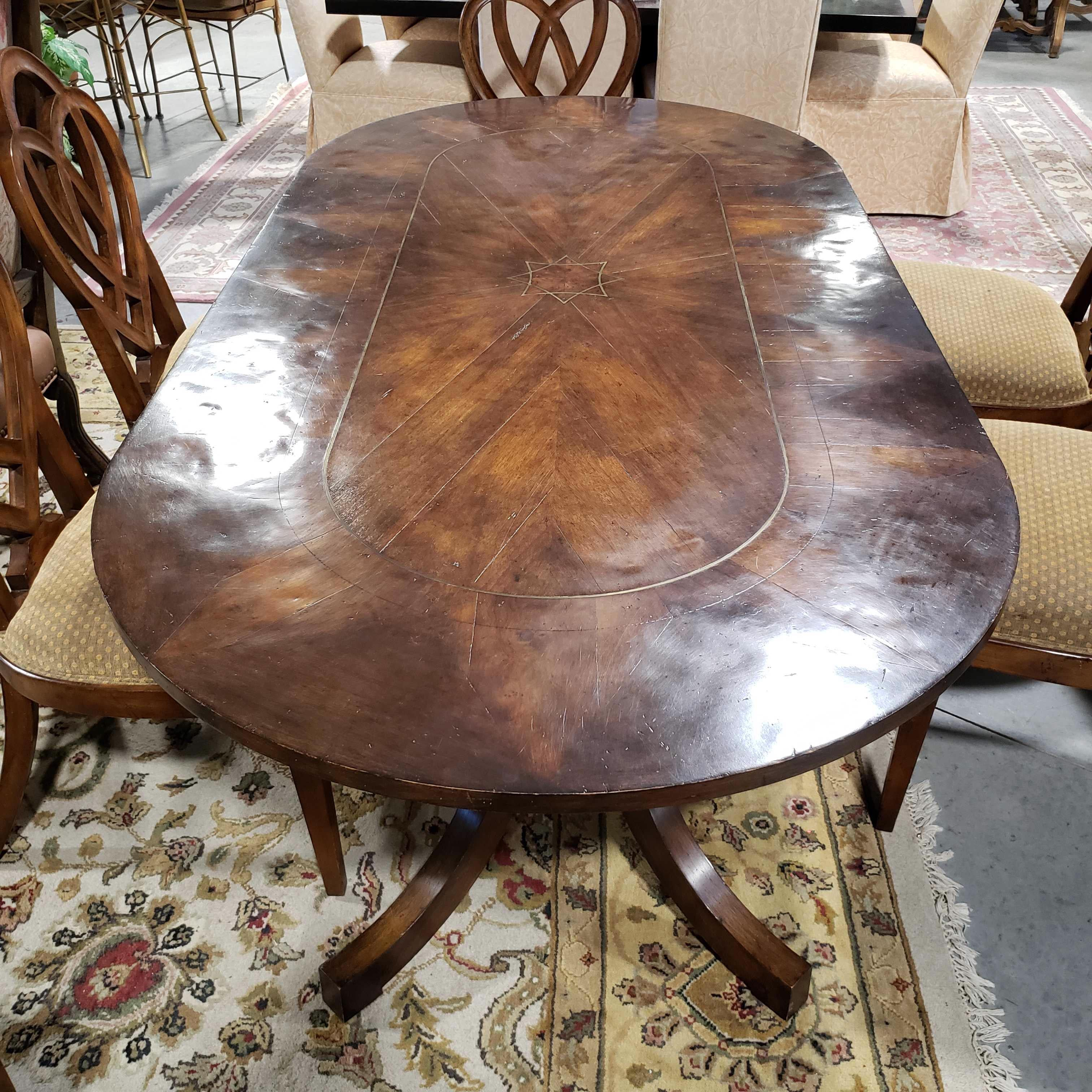 "84""x 42""x 29"" Oval Inlay Brass Star and Wood Top Table with 6 Carved Heart and Upholstered Chairs Dining Set"