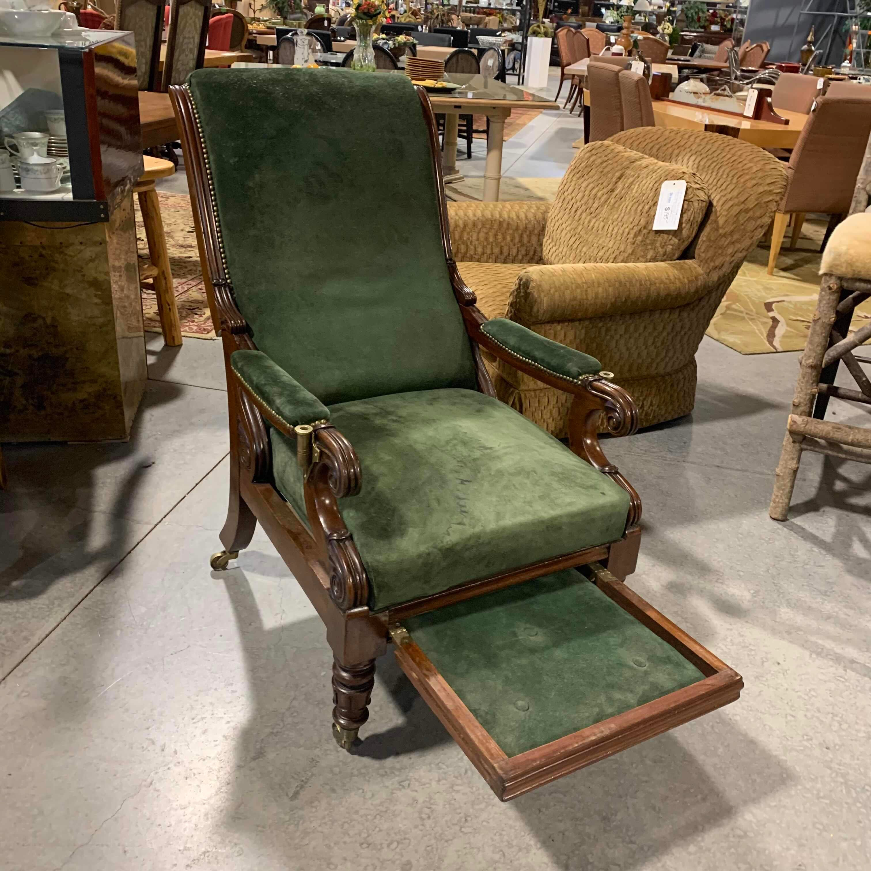 "27""x 34""x 43"" 19th Century Green Leather Adjustable Arm Chair"