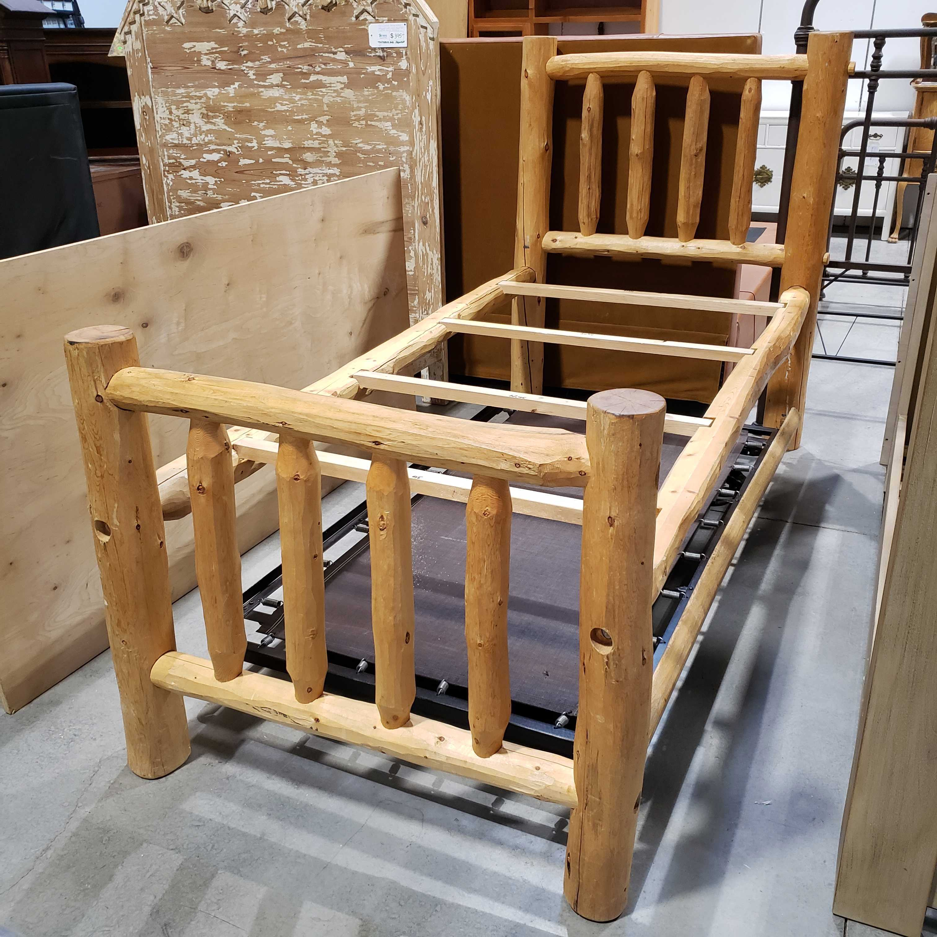Twin Log with Trundle Bed Set