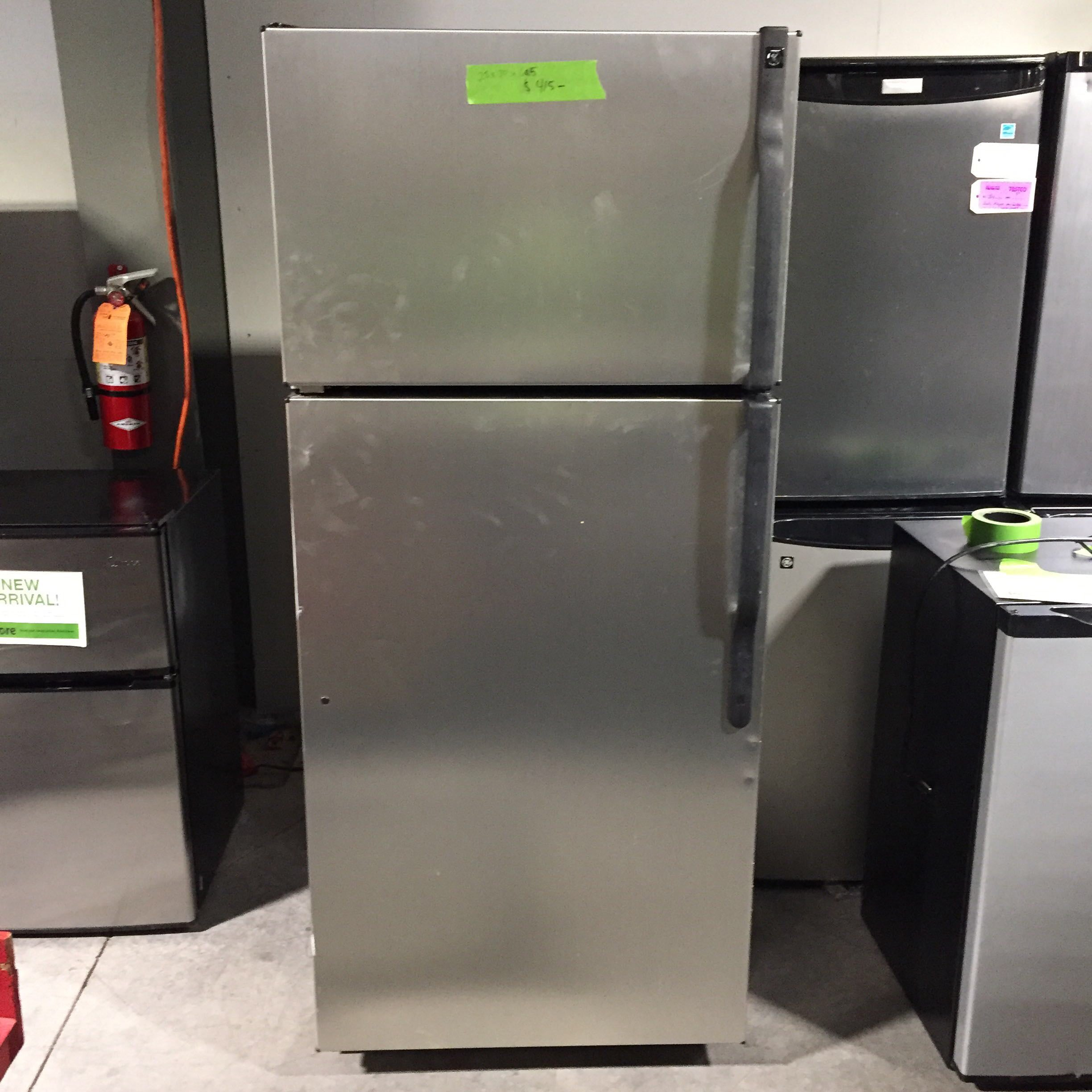"28"" x 30"" x 64.5"" GE Stainless Steel Top Freezer  Refrigerator W/ Black Handles"