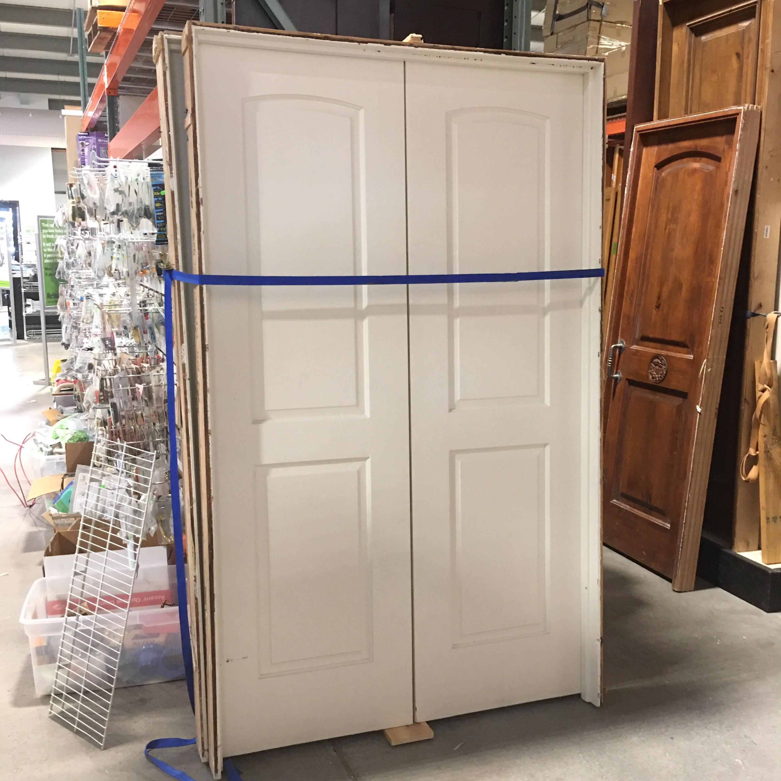 "48"" x 80"" x 4.5 White Two Panel Arch Top French Doors"
